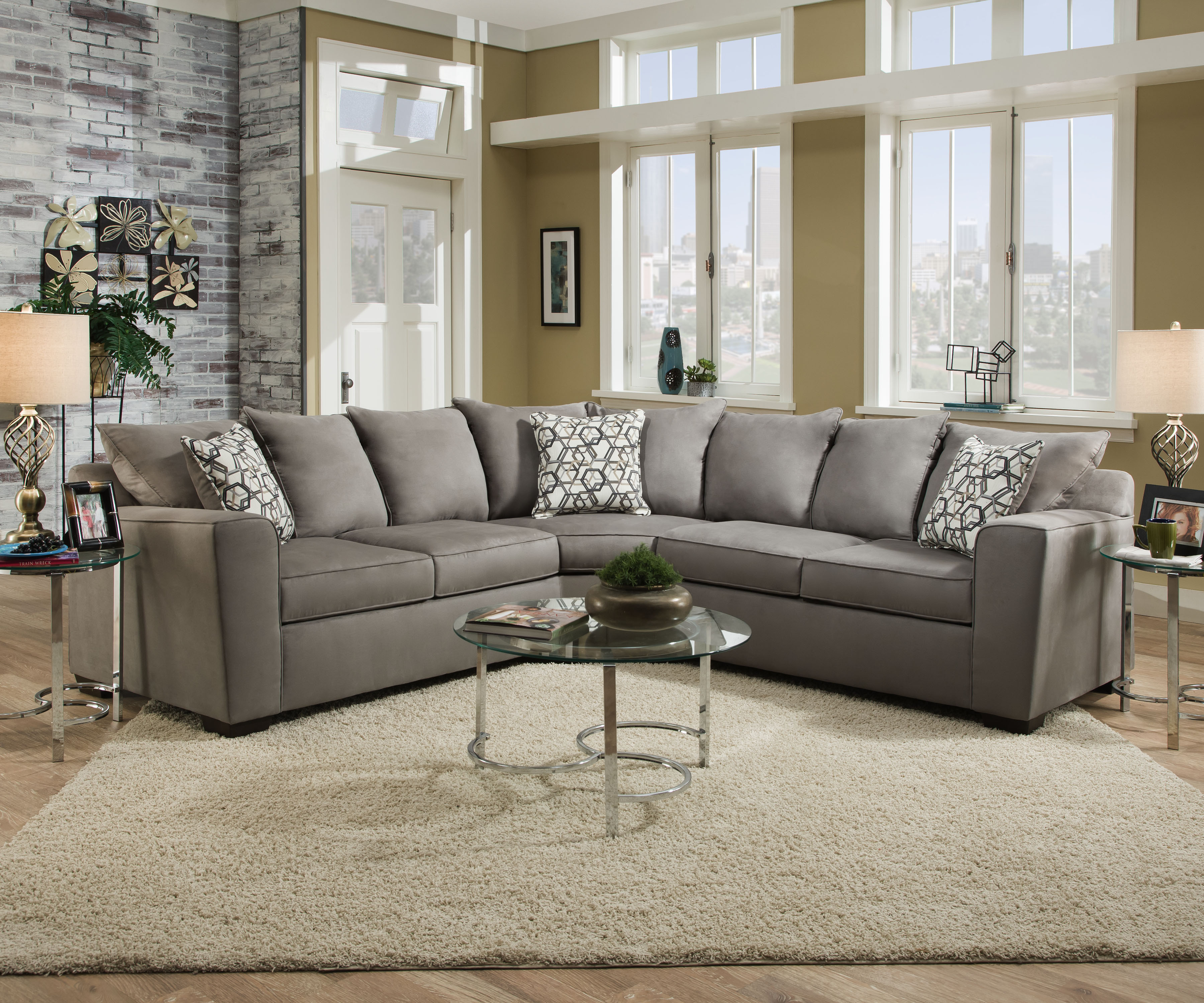 Lssim9073 simmons beautyrest sectional reg 1799 now 1399 pina furniture for Simmons living room furniture sets