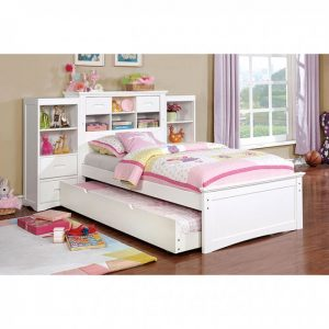 CM7844WH-T Twin Bed W/ Opctional Side Bookcase W/ USB Plug Now $799.90 Trundle $169.90