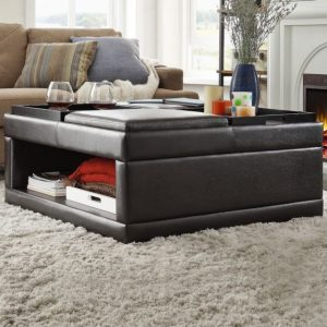 HOM4732PU Cocktail Ottoman With Flip Trays On Casters Reg $499.90 Now $429.90